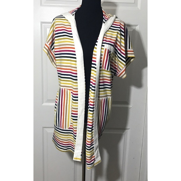 Lilka Anthropologie Striped Hooded Robe Coverup 93d3635a6